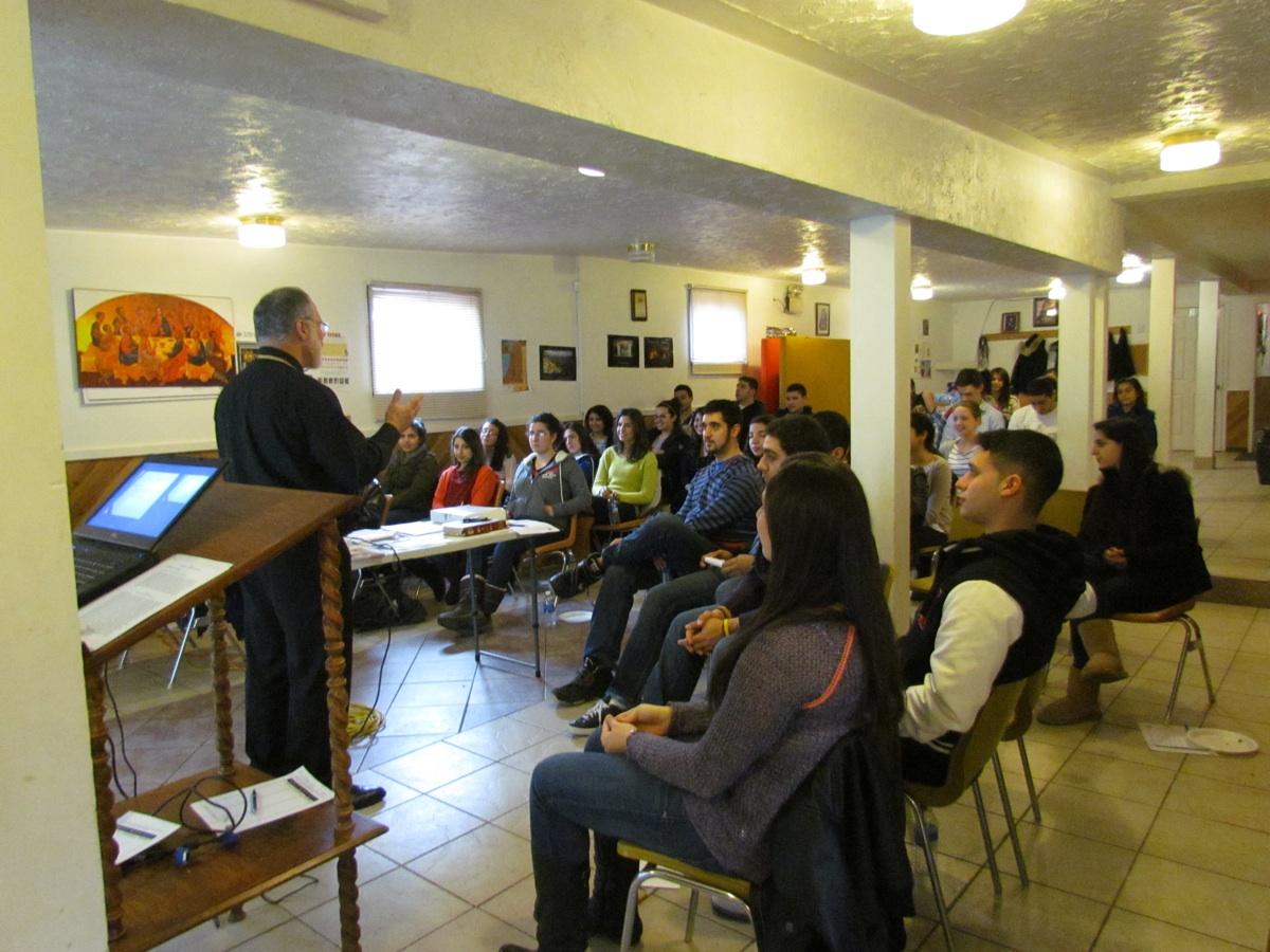Fr. Joseph speaking to Halifax teens