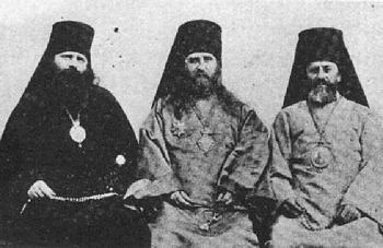 St. Tikhon, then Archbishop of north America, with his two vicar bishops, Innocent (Pustynskii) of Alaska and Raphael (Hawaweeny) of Brooklyn