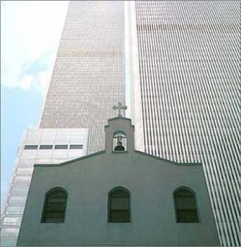 St Nicholas Greek Orthodox Church and the Twin Towers of the World Trade Center on 9/10/01