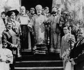 Bishop Raphael, Archpriest Constantine Doumany, Archdeacon Emmanuel Abohatab and parishioners at St. Michael Church in Beaumont, Texas, around 1914