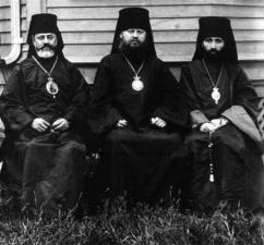 Bishop Raphael, Archbishop Platon of the Russian Archdiocese, and Bishop Alexander of Alaska, hierarchs in North America