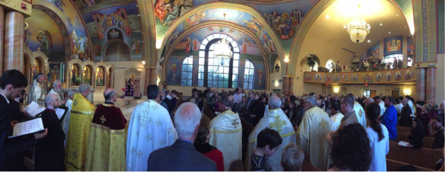 The faithful and clergy at Sunday of Orthodox Vespers