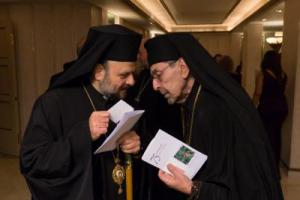 Bishop Nicholas (L) visits with the OCA's Archbishop Nikon