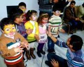 Young Syrian victims of war in a therapeutic program sponsored by IOCC