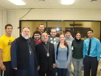 Pictured are Bishop Thomas, Fr. Nektarios Cottros, Fr. Andrew Damick, students from Temple, Penn and Rowan universities.