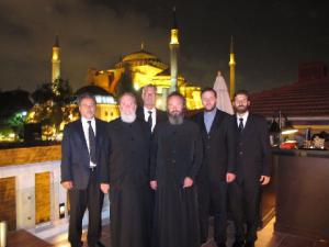 On the terrace of the Four Seasons Hotel in Sultanahmet