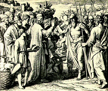 The King of Salem Blesses Abraham: Engraving by Julian Schnorr von Carolsfeld (c. 1851–60).