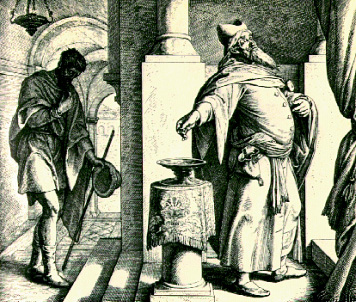 The Pharisee and the Tax Collector: Engraving by Julian Schnorr von Carolsfeld (c. 1851–60).
