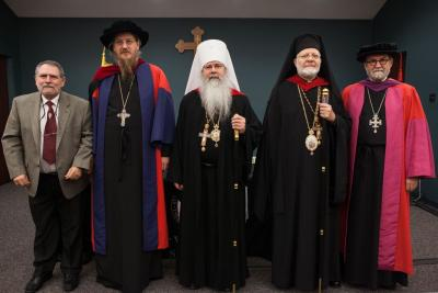 (L to R): Professor Pedrag Matejic; Fr. John Behr; Metropolitan Tikhon; Metropolitan  Joseph; Fr. Chad Hatfield (Photo: Jasmine Yedigarian)