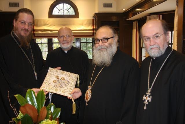 (L to R) Fr. John Behr, His Eminence Metropolitan Joseph, Patriarch John, Fr. Chad Hatfield (photo: Dn. G. Hatrak)